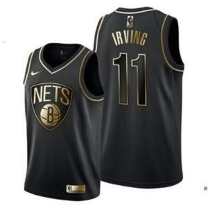 Brooklyn Nets Kyrie Irving Black Gold Jersey